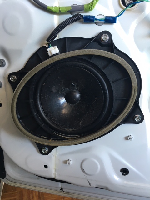 Close up of speaker in door